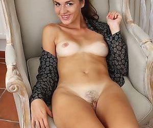 Amateur secretary Esmeralda Jones is stroking her little juicy vagina