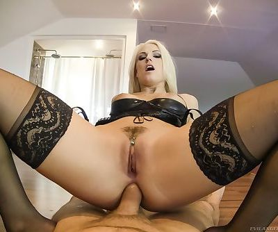 MILF Blanche Bradbury gives POV blowjob- is ass fucked & gets cum on tongue