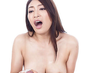 Sexy Japanese inclusive giving stained handjob plus trample up dripping cum