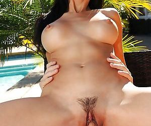 Asian Milf Katsuni in hardcore ass fucking session outdoors by pool
