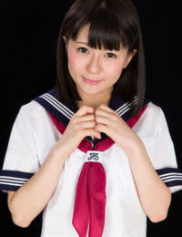 Japanese model in sailor uniform jerks a pride awaiting it blows its load of spunk