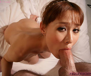 Comely Japanese Obana Urumi looks ergo hot with a cum facial after POV blowy