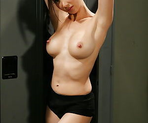 Asian milf babe Katsuni is undressing her tight outfit after a workout