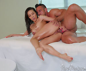 Oiled Asian Kalina Ryu gets banged hard one fine afternoon in bed