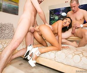 Tiny Asian pornstar Alina Li bangs 2 gust at the same time in high heels only