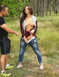 Flirty European teen Nikki Waine tempts and fucks a hot sexy guy in a forest