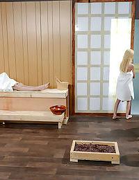 Teens Alaina Dawson- Elsa Jean and Piper Perri have all girl 3some in sauna