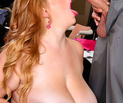 Blonde BBW Mya Blair tits smothers her guy before giving him a blowjob