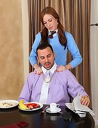 Teen girl in pigtails and knee socks seduces her stepfather at breakfast table