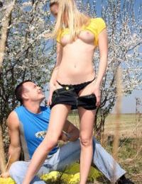 Young blonde girl Chanel ends game of hide and seek with sex in the bushes