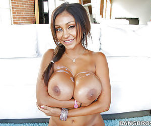 Indian MILF Priya Rai using huge tits to prepare a cock for her twat