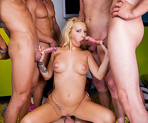Petite blonde Nicky Baby is always game for filthy gangbanging