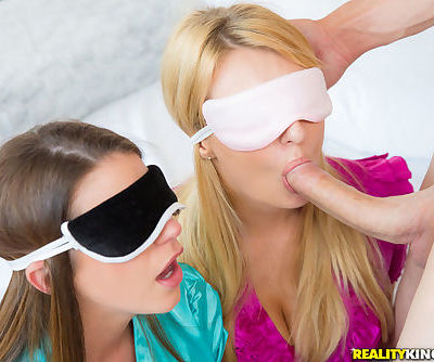 Three hot girlfriends get blindfolded for a CFNM cock taste test challenge