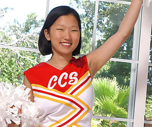 Korean amateur Maxine loosing big natural boobs from cheerleader uniform