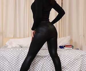 Skinny chick Gabriella Paltrova strips naked to spread shaved vagina