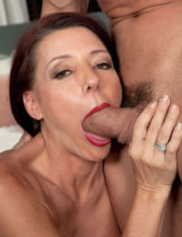 Middle aged woman Soleil sucks off her younger lovers cock