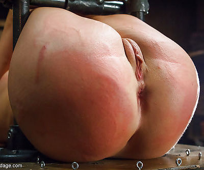 Sexy girl next door Serena Blair stripped and bound for hot wax punishment