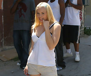 Sweet blonde teen Candi Summers gets picked up and gangbanged by 3 black men