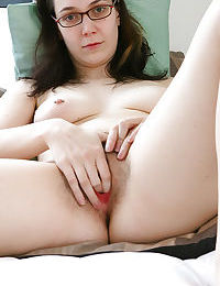 Nerdy brunette amateur Gabrielle bends over for hairy cunt spreading