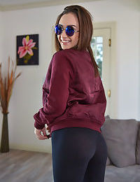 Young Latina Lily Jordan plays withe pussy after slipping off her yoga pants