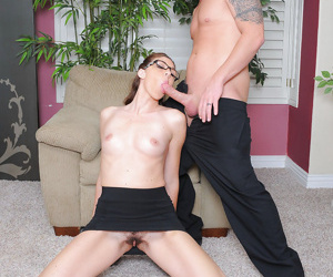 Katie Angel removes undies for mans huge cock in a hot office fuck
