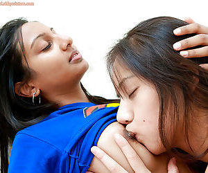 Cute Indian teenagers having girl on girl sex for first time on camera