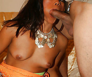 Naughty indian slut Raj Laxmi gives a blowjob and gets slammed hardcore