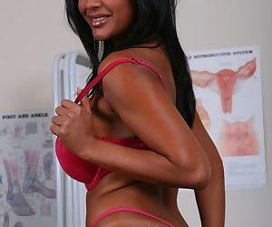 Indian cutie Priya Anjeli Rai strips to expose her tits and her twat
