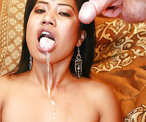 Slutty indian chick Raj Laxmi sucks and fucks a big white boner