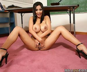 Indian babe with big tits Priya Anjeli Rai shows her cunt at school