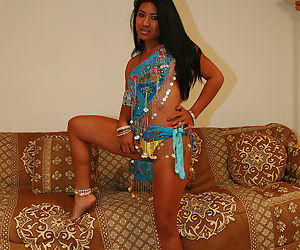 Fully clothed Indian girl flashes her sexy tight ass in yellow thong panties