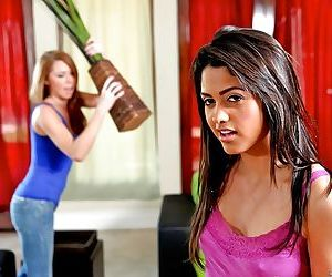 Indian cutie with tiny tits Leah Parker fucked by her lesbian friend