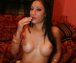 Busty indian lassie gives a blowjob and gets her shaved cunt cocked-up
