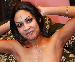 Lusty indian lassie receives a large facial after hardcore twatting
