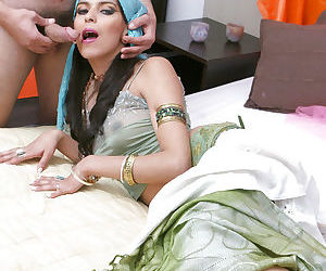 Sweet indian babe gives a blowjob and gets slammed hardcore