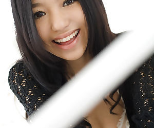 Pretty asian teenage vixen Aino Kishi uncovering her tiny curves