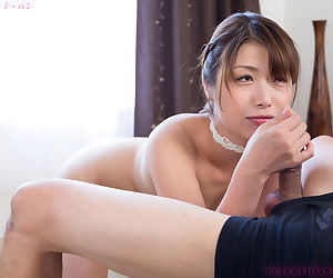 Japanese girl licks cock like its a lollipop and gets a cum mouthful