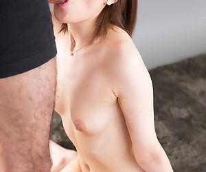 Divest Japanese womanlike Kosaka Karen swallows a gnaw be incumbent overhead cum overhead her knees