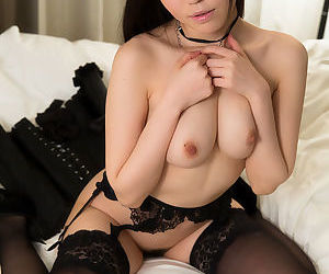 Interesting Japanese female jerks wanting a weasel words in sensual unmentionables with an increment of stockings