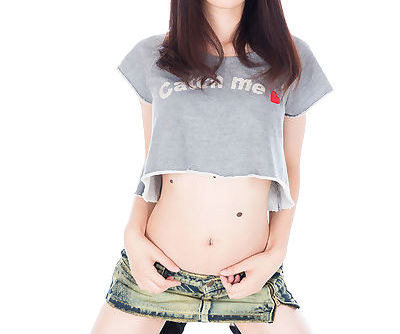 Japanese girl teases with no panty upskirt before giving a POV handjob