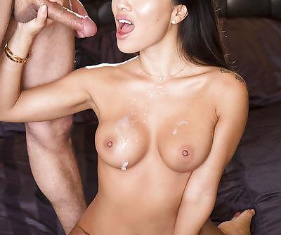 Hot Asian pornstar Asa Akira bares nice tits before fucking of trimmed cunt