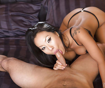 Hot Asian pornstar Asa Akira bares nice tits before fucking of trimmed cunt