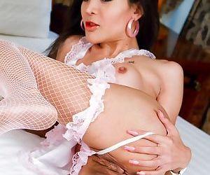 Skinny ladyboy Pear spreading her pink ladyboy post op vagina