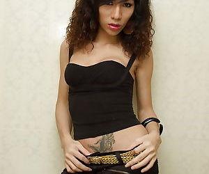 Busty solo brunette Asian ladyboy Pang flashing panties and tattoos