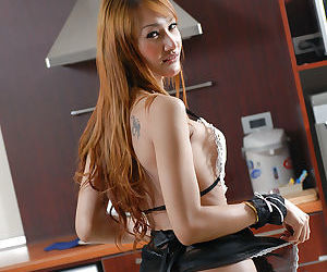 Sexy Asian tranny maid Lilly loves to clean up the house and herself