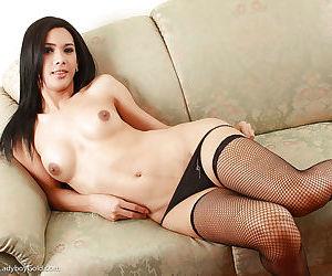 Beautiful Asian shemale Cartoon 2 masturbating tiny shecock in stockings