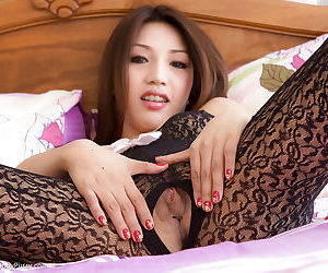 Gorgeous Asian ladyboy Anam showing off her lingerie and hot ladyboy pussy