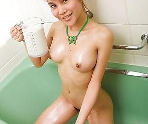Teen ladyboy Cheery masturbates hairy shemale vagina in shower