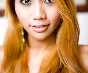 Redhead Asian tranny Moo masturbates her hairy little shedick
