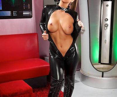 Stunning Abigail Mac peels away her latex catsuit to reveal her great tits